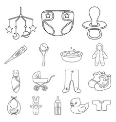 birth of a baby outline icons in set collection vector image