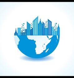 Blue cityscape on half earth vector image