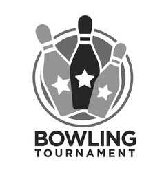 bowling tournament pins and stars icon vector image