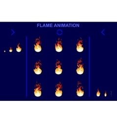 Bright Fire Flame Animation Set vector image