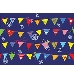 Bunting flags christmas pattern seamless vector image