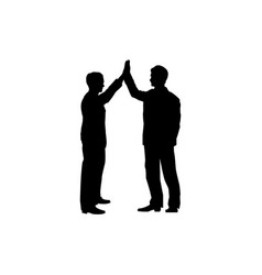 business collaboration sign two men silhouette vector image
