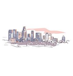 california los angeles sketch line usa landscape vector image