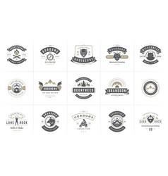 Camping logos and badges templates design vector
