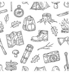 camping pattern hiking family camp in natural vector image