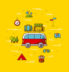 Camping related icons image vector