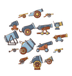 Cannon retro icons set cartoon style vector