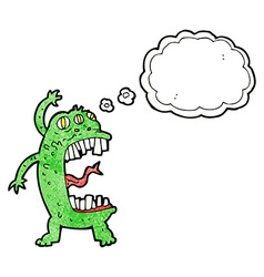 cartoon crazy monster with thought bubble vector image