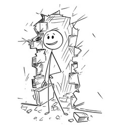 Cartoon of businessman coming through hole vector