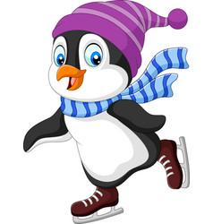 cartoon penguin ice skating isolated vector image