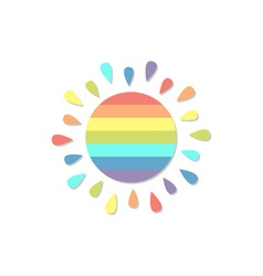 Cartoon rainbow color sun Isolated on white vector