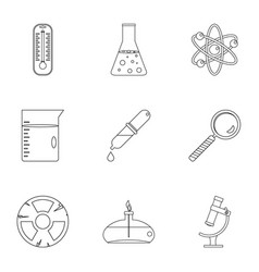 Chemistry science icon set outline style vector