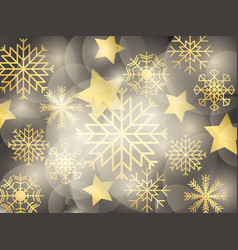christmas golden background with snowflakes stars vector image