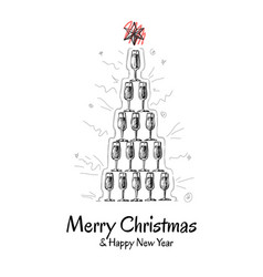 Christmas greeting card with pyramid champagne vector