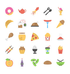 collection of bakery and fast foods flat icons vector image