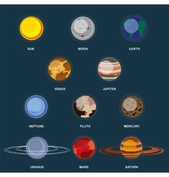 Collection of planets on dark background Outer vector