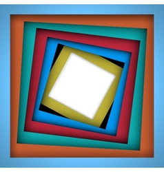 Colorful paper square and frame background vector image