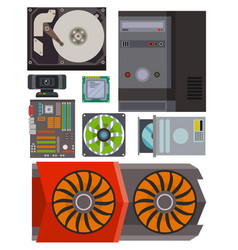 Computer parts network component accessories vector
