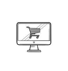 computer screen with shopping cart hand drawn vector image
