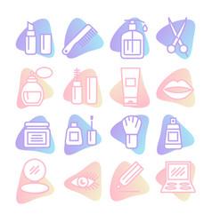 cosmetics icons set on white background vector image
