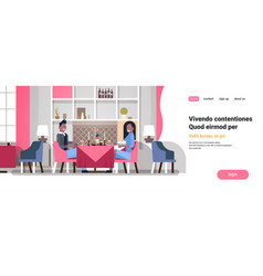 Couple sitting cafe table romantic dinner happy vector