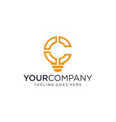 Creative bulb with c icon for logo design concept vector
