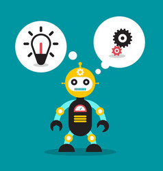 Cute robot toy with bulb and cogs in speech bubble vector