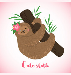 cute sloth on branch in hand drawn style vector image