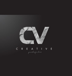 Cv c v letter logo with zebra lines texture vector