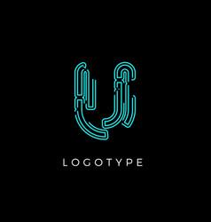 Cyber letter u for digital technology logo concept vector