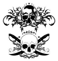 decorative art background with skull vector image