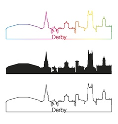 Derby skyline linear style with rainbow vector