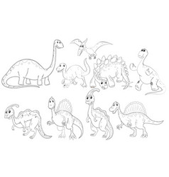 different types of dinosaurs vector image