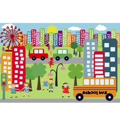 doodle city for children vector image