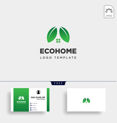 Eco leaf home nature simple logo template icon vector