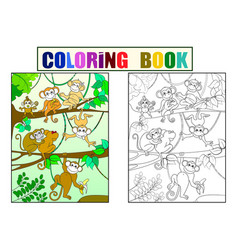 family of monkeys on a tree color book for vector image