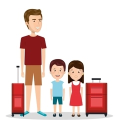 Family travel with suitcases vector