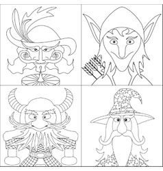 Fantasy heroes set avatar contour vector image