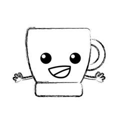 Figure happy coffee cup kawaii with arms vector