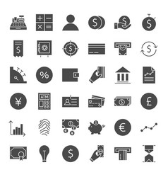 Finance money solid web icons vector
