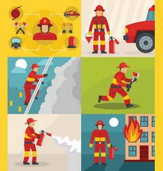 fire fighter banner concept set flat style vector image