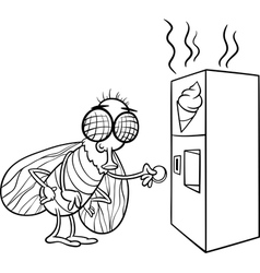 Fly and vending machine coloring page vector