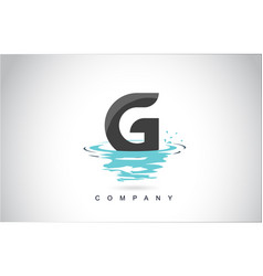 g letter logo design with water splash ripples vector image