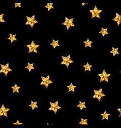 gold glitter stars seamless pattern on vector image