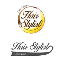 hair salon logo hair stylist emblem beauty salon vector image