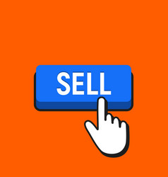 hand mouse cursor clicks the sell button vector image