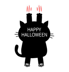 happy halloween cartoon black cat scratching back vector image