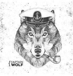 Hipster animal wolf captains cap and smoking pipe vector