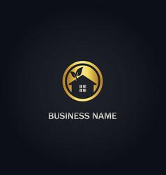 home eco organic gold logo vector image