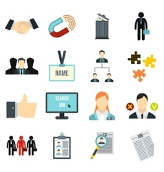 Human resource management icons set flat style vector image